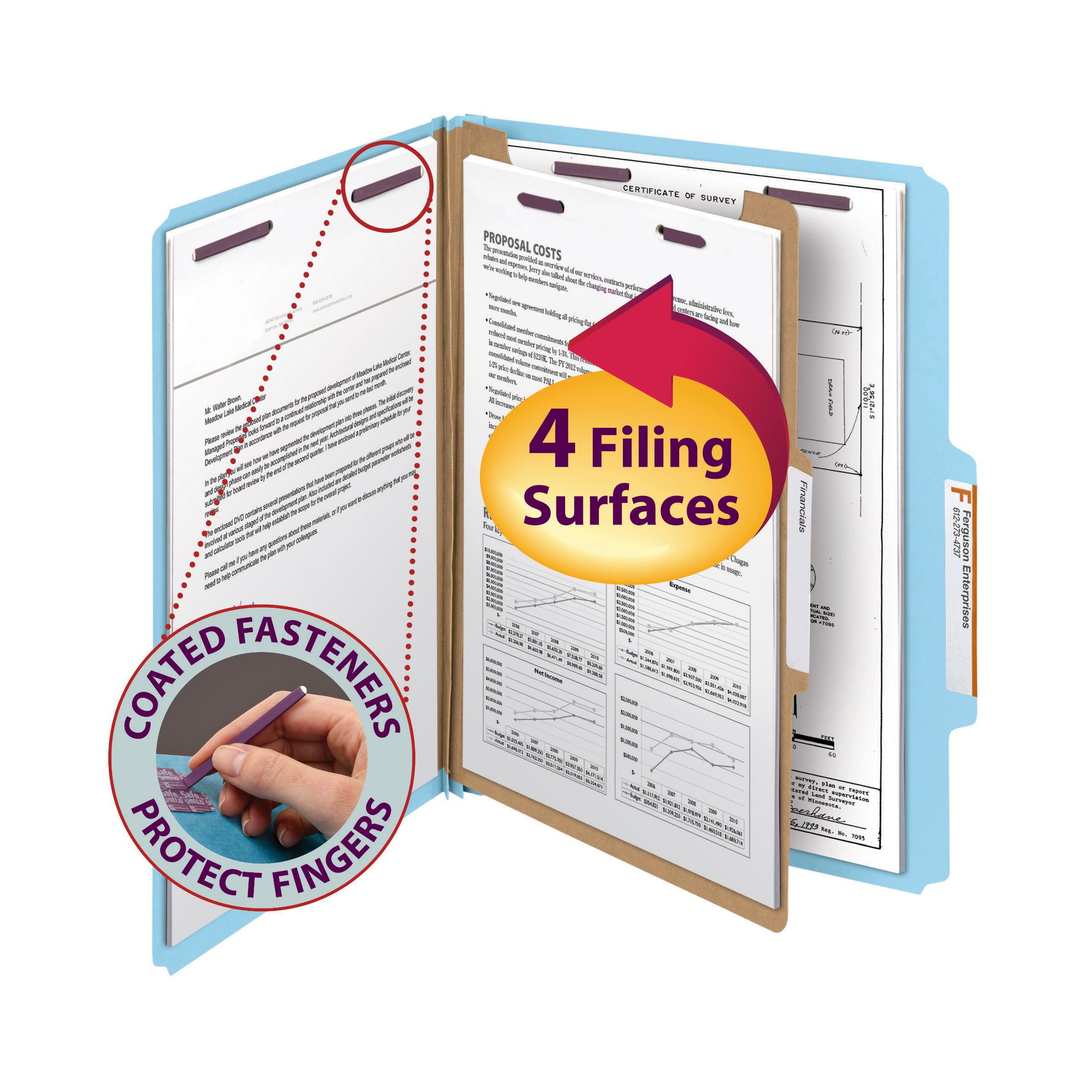 "Smead Pressboard Classification File Folder with SafeSHIELD® Fasteners, 1 Divider, 2"" Expansion, Letter Size, Blue, 10 per Box (13730)"