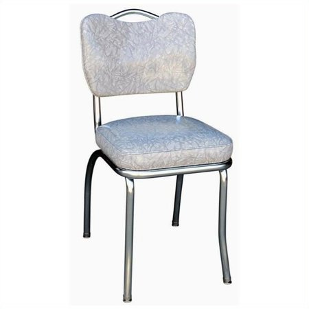 Pemberly Row Handle Back Chrome Diner Dining Chair in Cracked Ice Grey Chrome Two Seat Chair