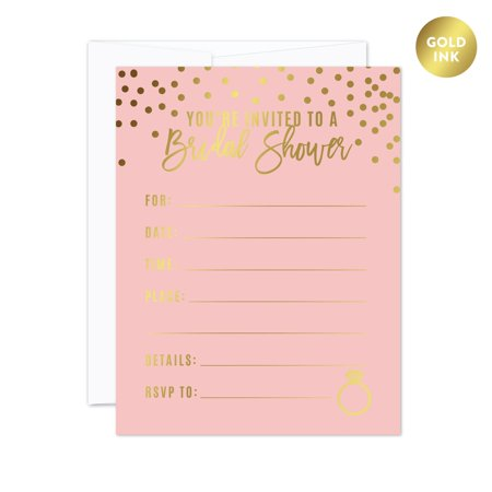 Pink And Gold Bridal Shower Invitations (Blush Pink and Metallic Gold Confetti Polka Dots, Blank Bridal Shower Invitations with Envelopes,)