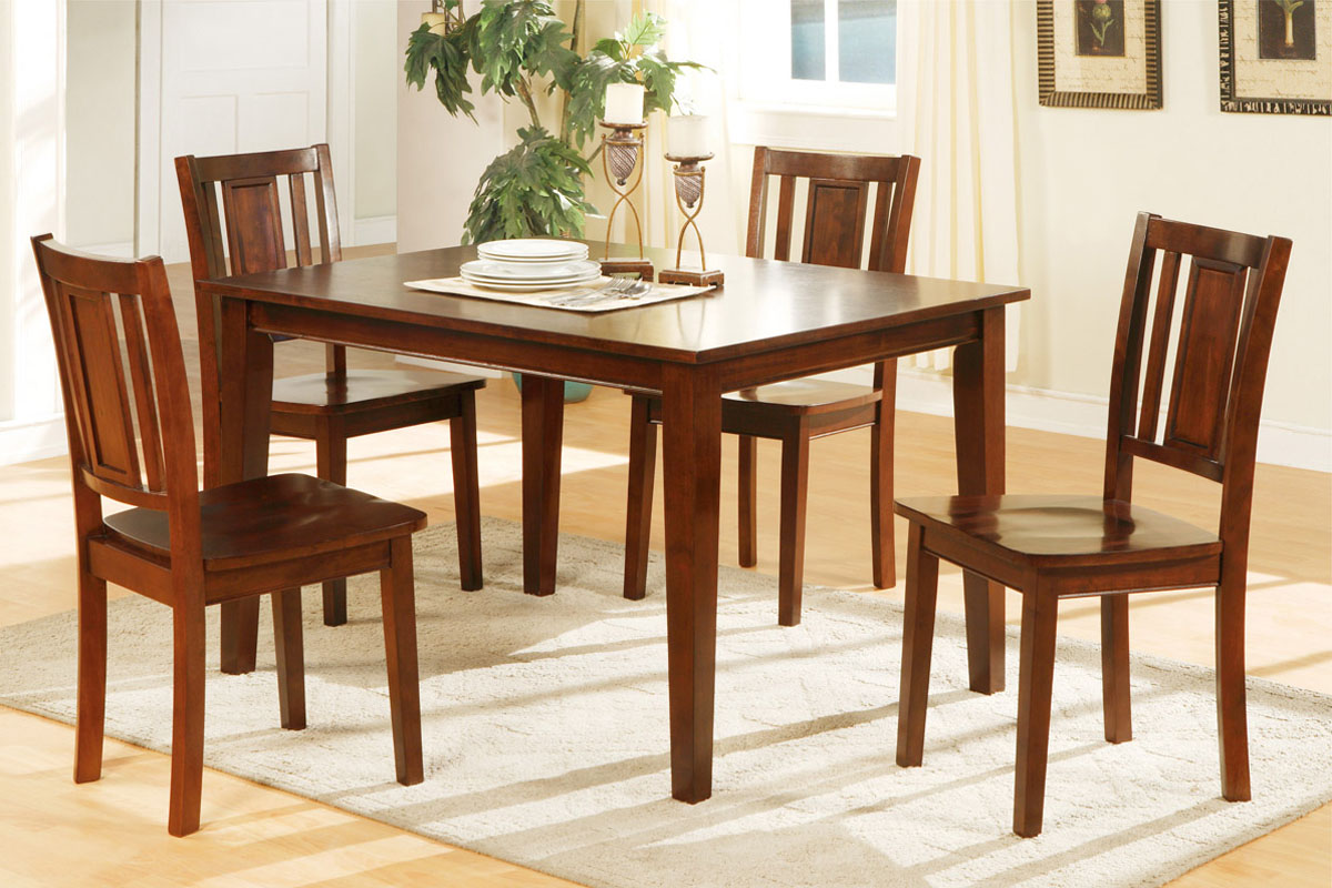 Poundex F2249 Dark Cherry Finish Wooden Dining Table And 4 Chairs Set -  Walmart.com