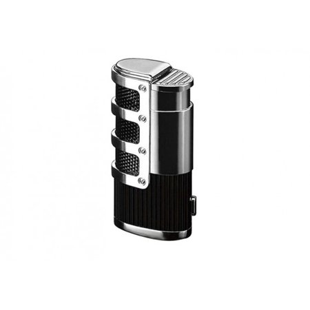 Torch Lighter Punch - Supernova Triple Flame Torch Lighter w/ Retractable Punch Cutter & Mesh Accents - Black