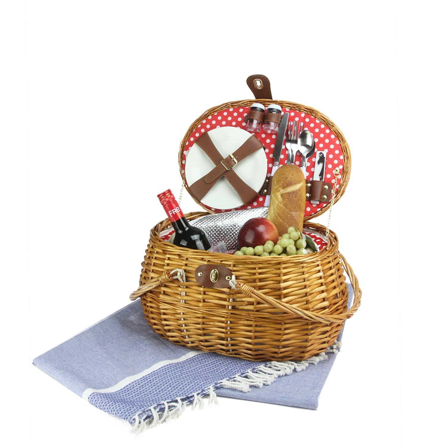 Northlight 2-Person Hand Woven Honey Willow Polka Dotted Picnic Basket Set With Accessories