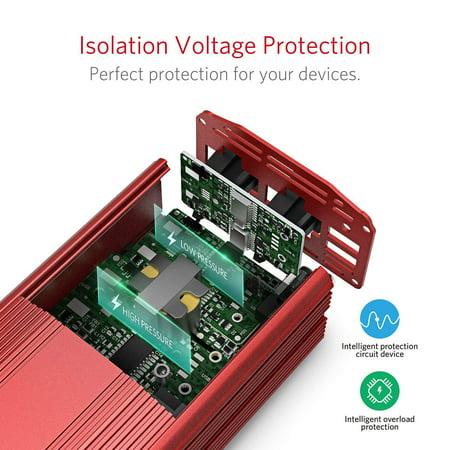 Power Inverter,by BESTEK MRI3011BU 300W DC 12V to 110V AC Car Inverter with 4.2A Dual USB Car Adapter, Red - image 4 de 7