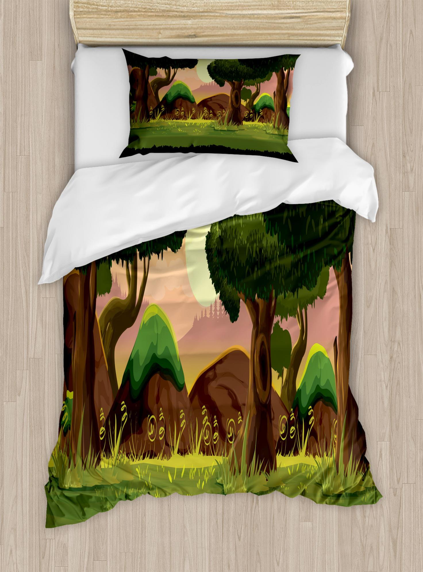 Forest Duvet Cover Set Twin Size, Animation Game Scenery