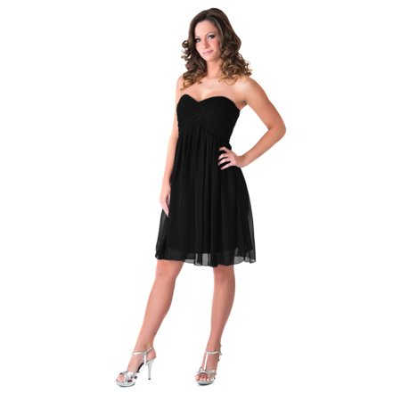 Faship Womens Elegant Short Pleated Formal Dress Black -