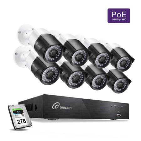 Loocam 1080p PoE Video Surveillance Camera System, 8 x Wired 2MP Security Bullet IP Cameras, 150ft Night Vision, 8 Channel NVR Security System w/ 2TB HDD, Motion Alert, Android and iOS
