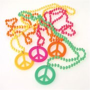 US Toy Company JA673 Peace Sign Necklaces - Pack of 12