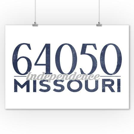 Independence, Missouri - 64050 Zip Code (Blue) - Lantern Press Artwork (9x12 Art Print, Wall Decor Travel (Independence Center Missouri)