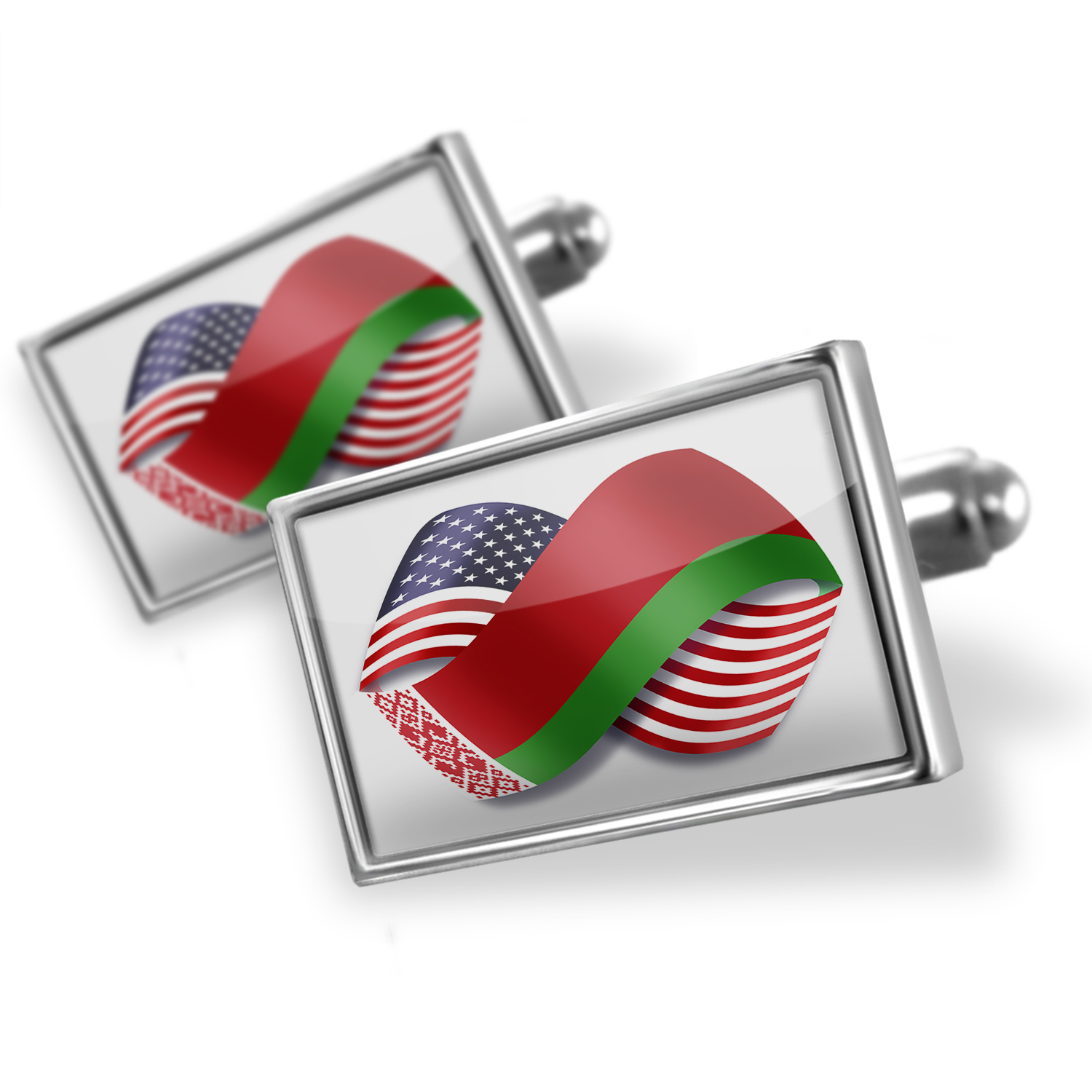 Cufflinks Infinity Flags USA and Belarus - NEONBLOND