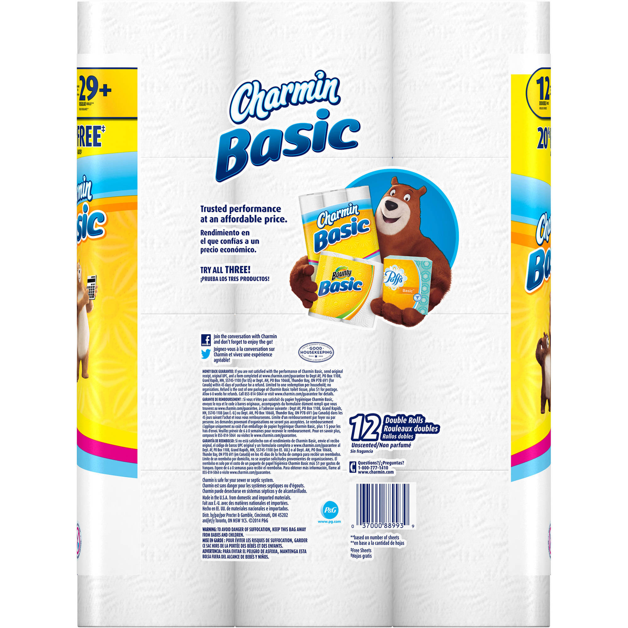 Charmin Basic Toilet Paper Double Rolls, 264 sheets, 12 rolls ...