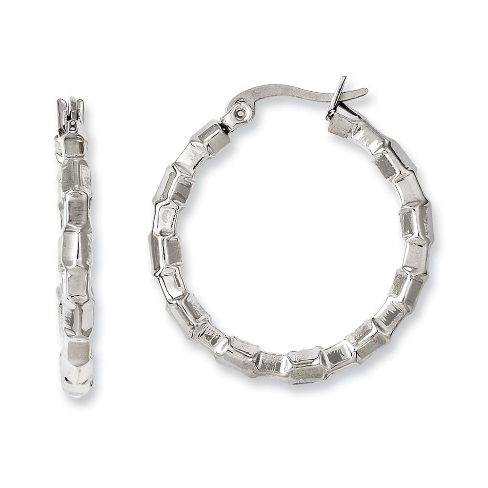 Stainless Steel Polished & Textured Hoop Earrings