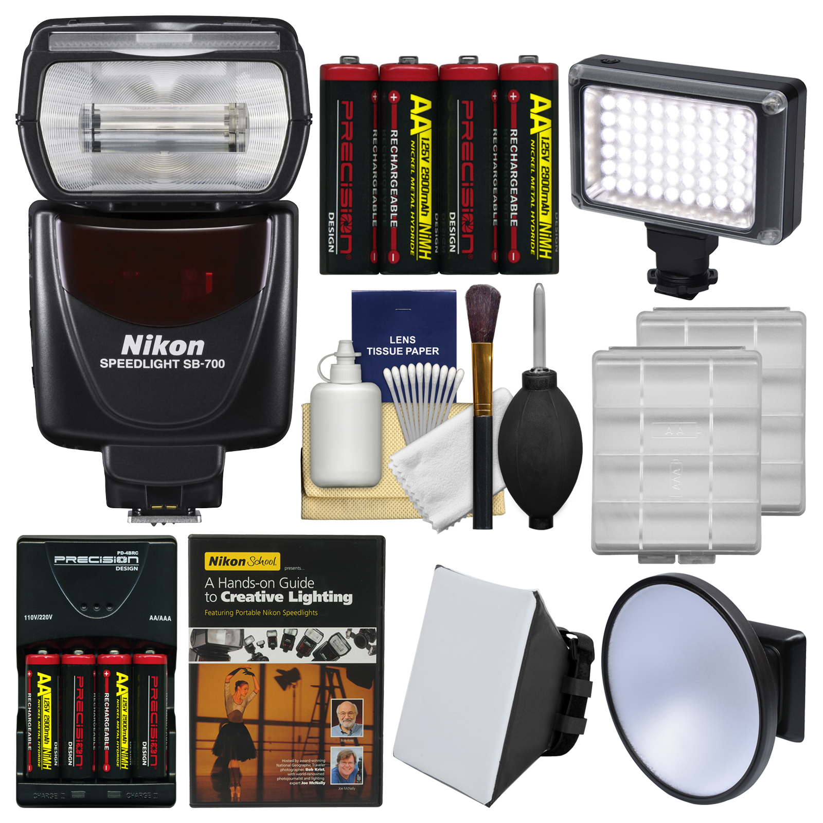 Nikon SB-700 AF Speedlight Flash with Soft Box + Video Light + Diffuser + Batteries & Charger + DVD + Kit
