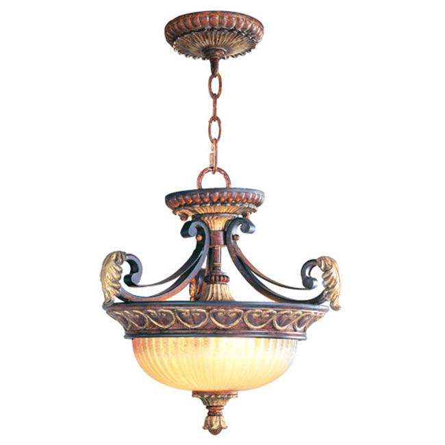 Livex 8577-63 Villa Verona Ceiling Mount-Chain Hanging Light- Verona Bronze