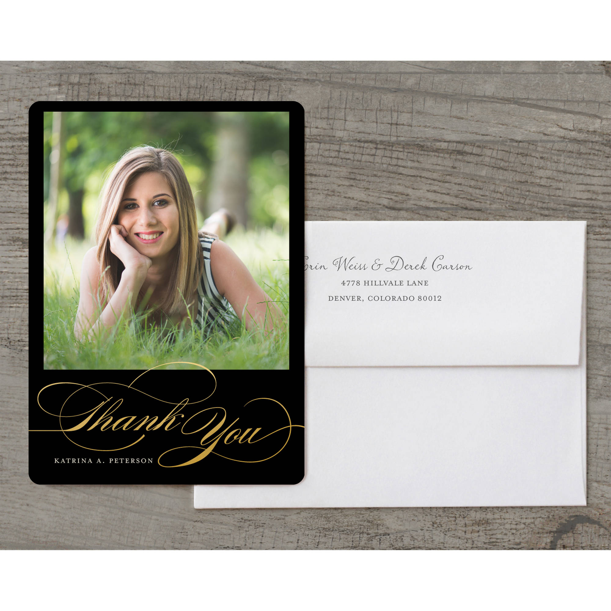 Classic Script Deluxe Graduation Thank You Card