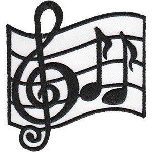 Patch - C&D - Music Themed Music Note Iron-On New Gifts Toys (Music Band New Patch)