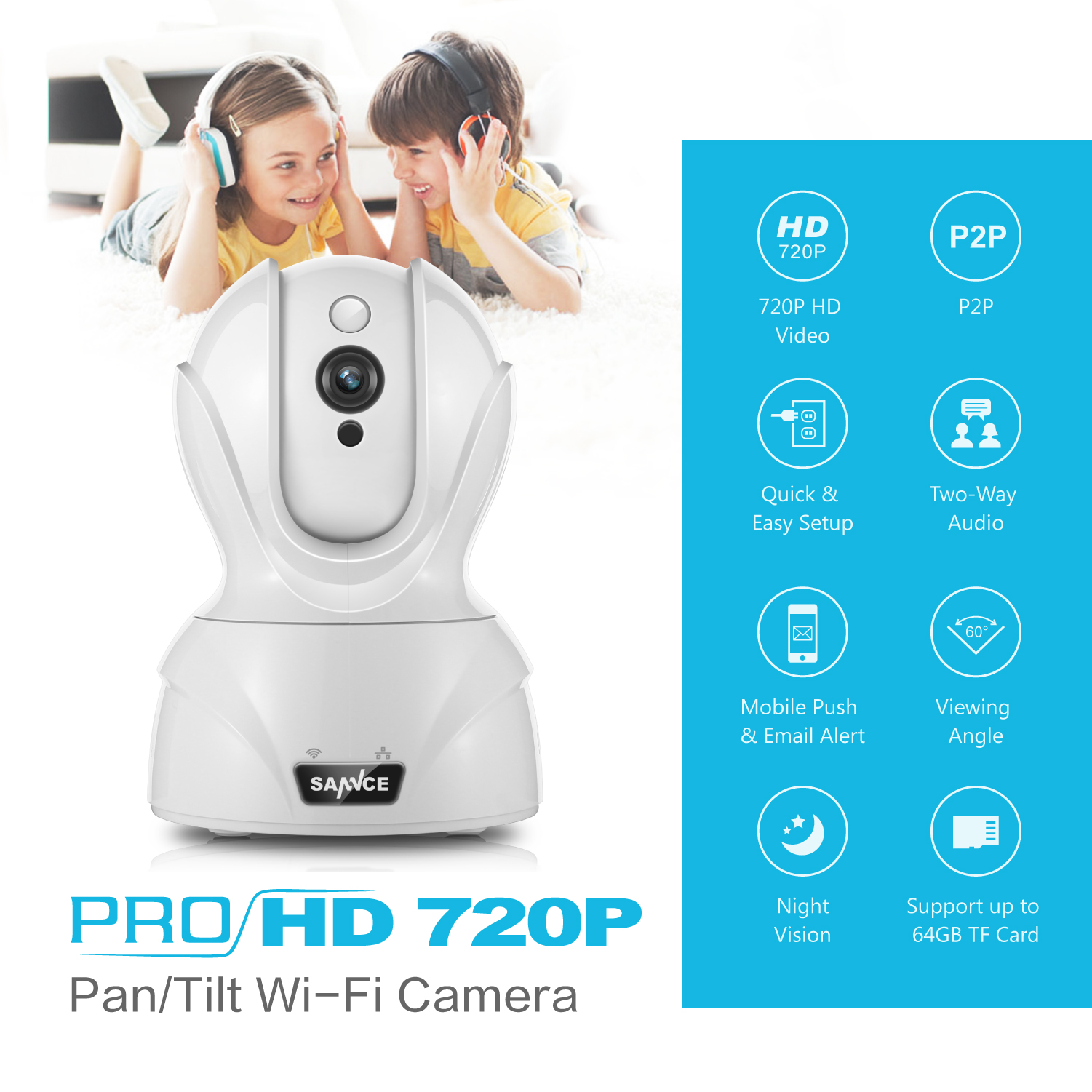 SANNCE Wifi IP Camera HD 720P Wireless 1MP Smart CCTV Security ...