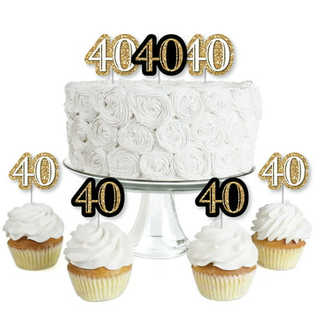 Adult 40th Birthday - Gold - Dessert Cupcake Toppers - Birthday Party Clear Treat Picks - Set of - Masquerade Cupcake Picks