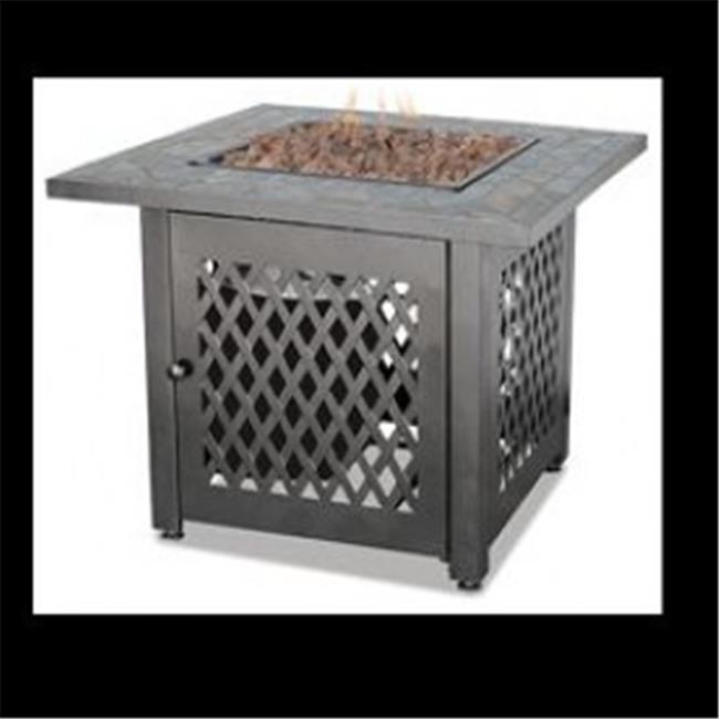 LP GAS OUTDOOR FIREBOWL WITH SLATE TILE MANTEL