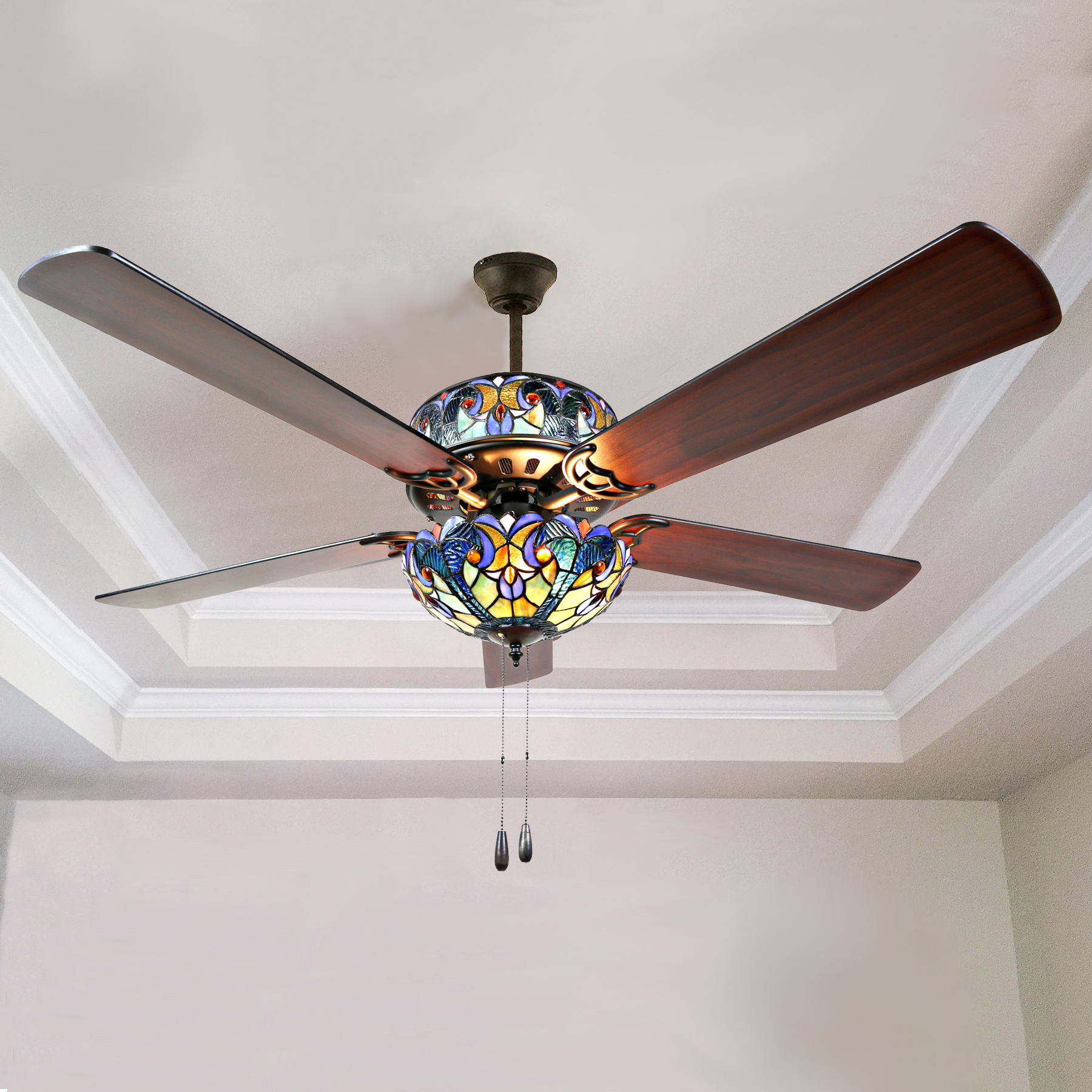 Wood Ceiling Fan 52inch 3 Leaf Led 40w Included With 2 Size Rod For Livingroom Bedroom Dinning Room And Digestion Helping Lights & Lighting Ceiling Lights & Fans