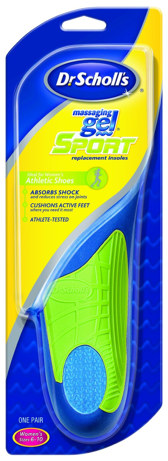 3 Pack Dr Scholls Massaging Gel Sport Replacement Shoe Insoles Womens Sizes 6-10 by
