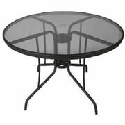 DC America Jakarta Steel Dining Table with Tempered Glass, Espresso