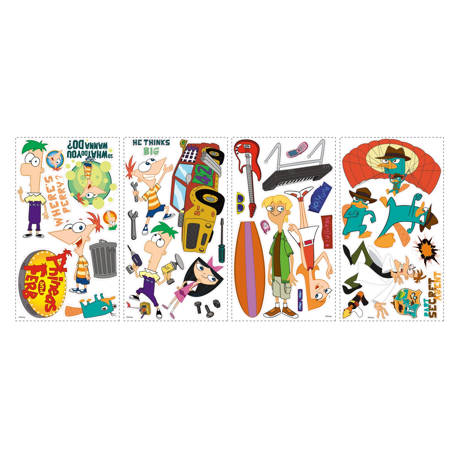 Phineas and Ferb Peel and Stick Wall Decals