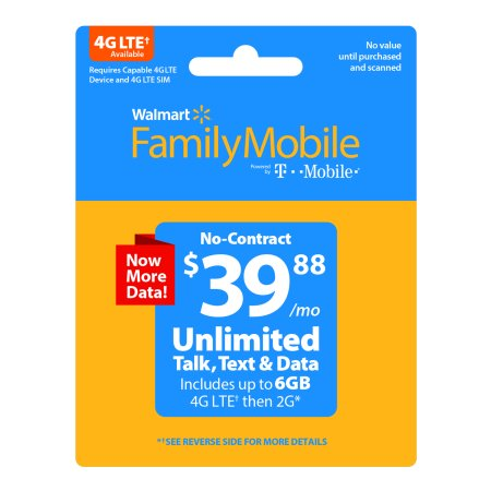 Walmart Family Mobile  39 88 Unlimited 30 Day Plan  6Gb Of Data At High Speed  Then 2G    Email Delivery