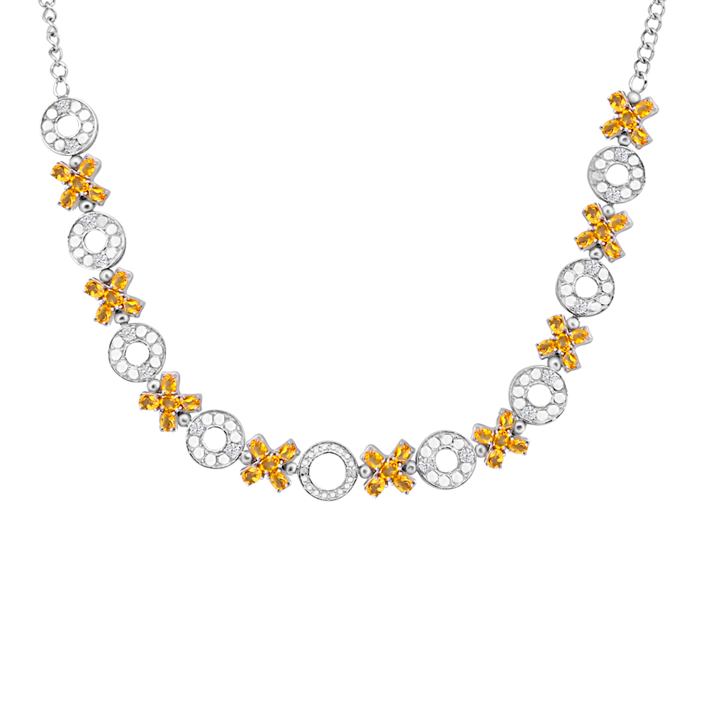 Orchid Jewelry Solid Sterling Silver 9 1 6 Carat Citrine, White Topaz, Diamond Statement Necklace by Orchid Jewelry Mfg Inc