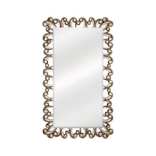 Majestic Mirror Large Stylish Silver Rectangular Beveled Glass Unique Decorative Wall Mirror