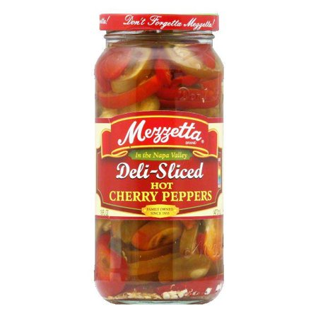 Rtu Hot Pepper - Mezzetta Cherry Peppers Sliced Hot, 16 OZ (Pack of 6)