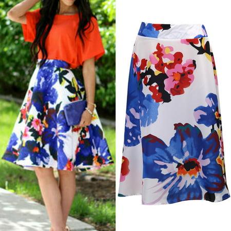 Skirts Women Summer floral print full high waist Flared Pleated A Line Skirt Mini Skirts Size S (Floral Print Mini Skirt)