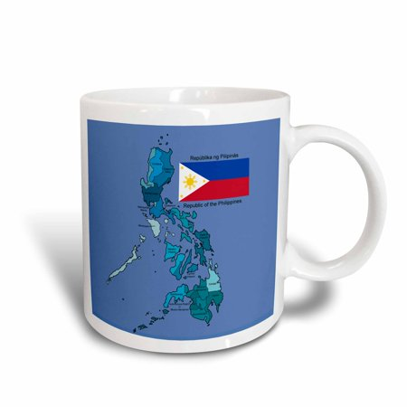 Colored Ceramic - 3dRose Flag and map of the Republic of the Philippines with all regions colored and labeled, Ceramic Mug, 15-ounce