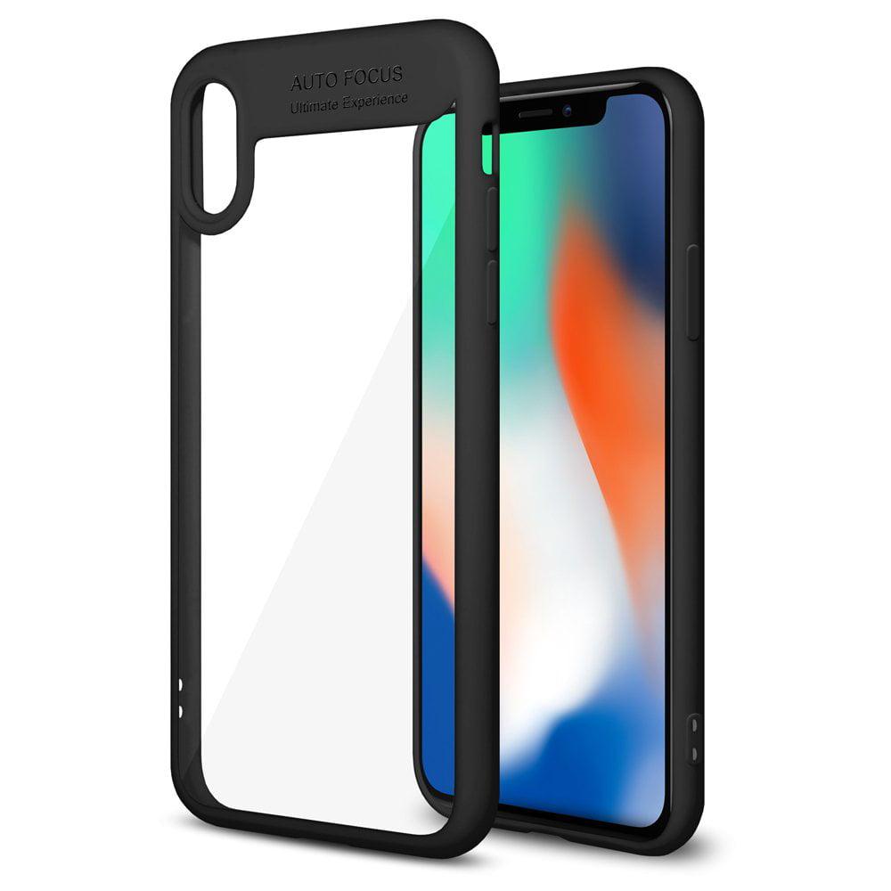 iPhone X 10 Ultra Slim Case, Premium Clear Hard Back Case ShockProof TPU Bumper Grip Cover for Apple iPhone X - Black