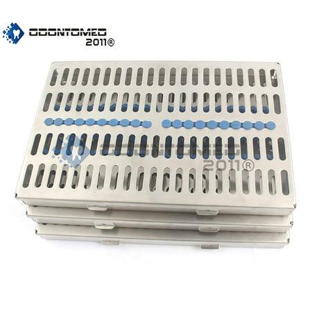 Odontomed2011® German Grade Steel Set Of 3 Each Dental Autoclave Sterilization Cassette Rack Box Tray For 20 Instrument Odm (Instrument Sterilization Container)