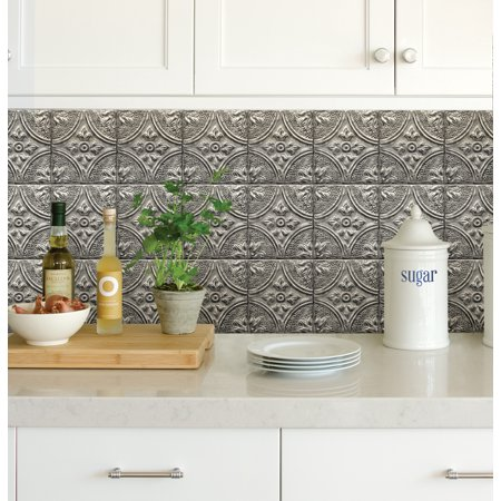 InHome Restored Tile Silver Peel & Stick Backsplash Tiles
