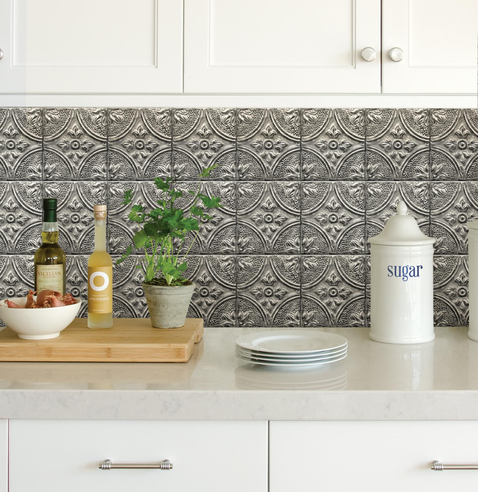 InHome Restored Tile Silver Peel & Stick Backsplash Tiles