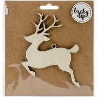 "Lucky Dip Wood Flourish-Reindeer 4.75""X4.75"""