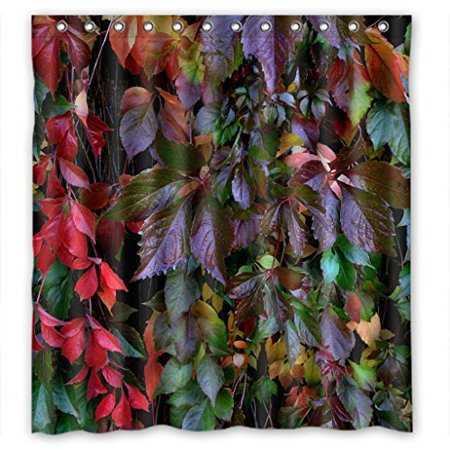 GreenDecor Colorful Drop Plant Leaves Best Home Waterproof Shower Curtain Set with Hooks Bathroom Accessories Size 66x72