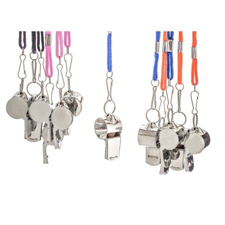Twelve Metal Whistles with Lanyard (12 pieces)](Bulk Whistles)