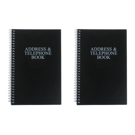 Set of 2 Black Telephone Address Books Spiral Bound 8