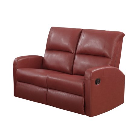 Monarch Leather Reclining Loveseat In Red Walmart Com