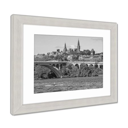 Winston Porter 'Key Bridge Georgetown University Washington Dc Potomac River' Photographic Print in Gray/White