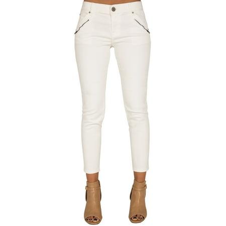 Standards & Practices Women Stretch Twill White Zipper Crop Skinny Premium Jeans