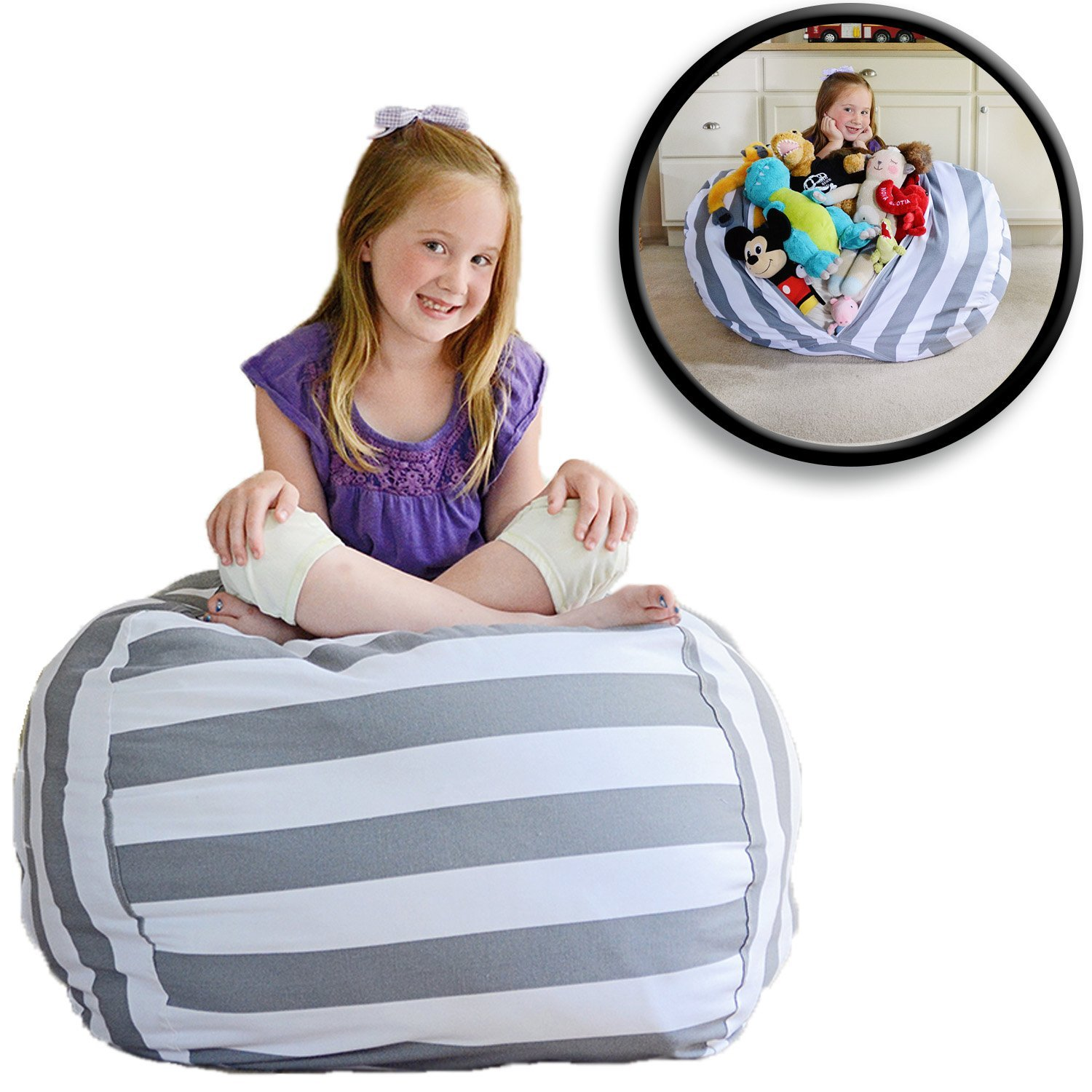 "EXTRA LARGE - Stuffed Animal Storage Bean Bag Chair - Premium Cotton Canvas - Clean up the Room and Put Those Critters to Work for You! - By Creative QT (38"", Grey/White Striped)"