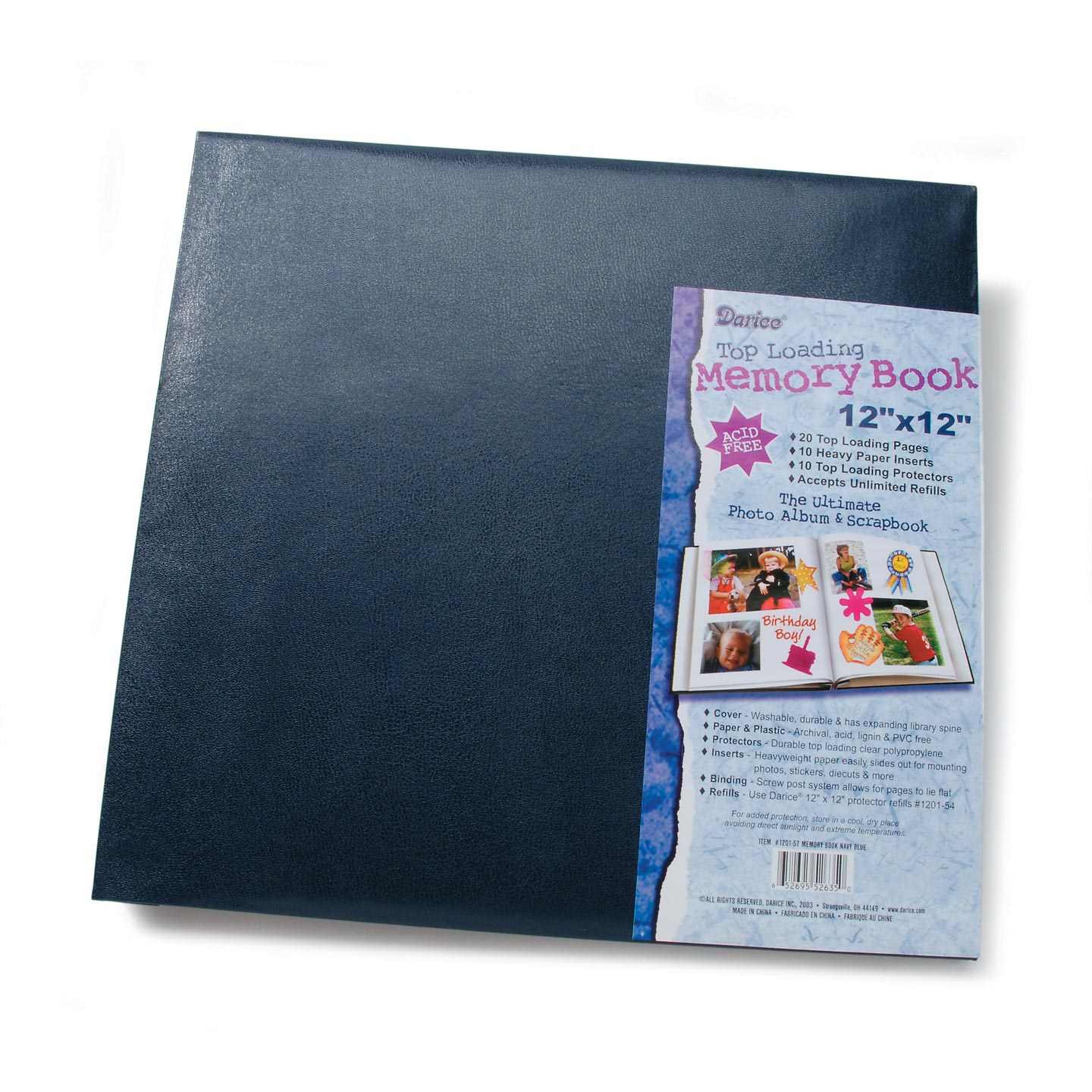 Scrapbook Navy Blue 12X12 With 10 Top Load Page Protectors