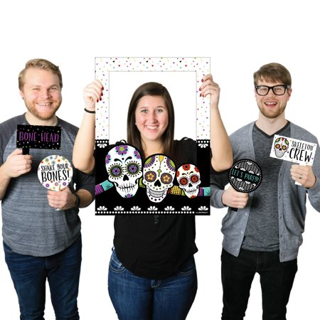 Day Of The Dead - Halloween Sugar Skull Party Selfie Photo Booth Picture Frame & Props - Printed on Sturdy - Halloween Writing Frame