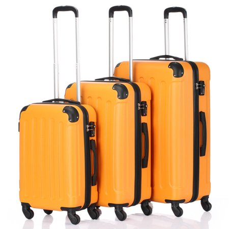 Orange 3 Pieces Travel Luggage Set Bag ABS Trolley Carry On Suitcase TSA
