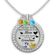 Grandma Necklace Gift for Mom Floating Charm Locket Pendant Necklace | Unique Original Charms Personalized Birthstone Necklace
