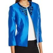 Kasper NEW Electric Blue Women's Size 6 Beaded Shummer Shantung Jacket
