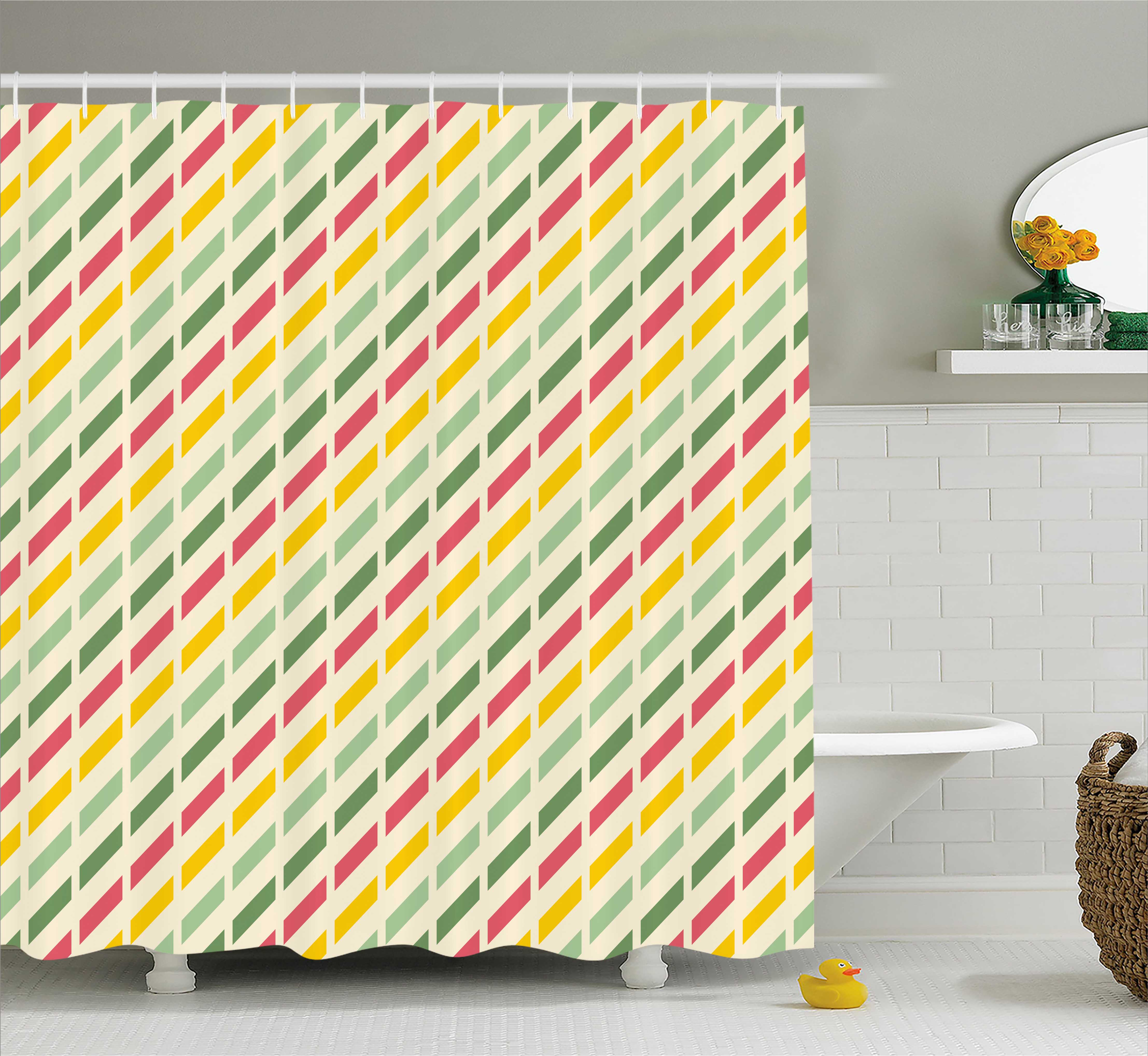 Retro Shower Curtain, Colorful Retro Cut Lines Diagonal Pattern in Pastel Colors Simplistic Summer Inspired, Fabric Bathroom Set with Hooks, 69W X 75L Inches Long, Multicolor, by Ambesonne